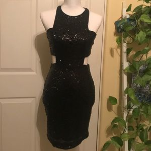 Express Black Sequin Dress with Cut Outs